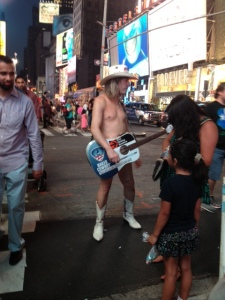 No New York City trip is complete without the naked cowboy..
