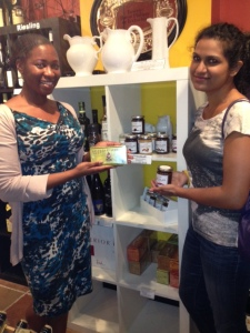 Vanessa loves Moriba's lemon grass tea and Nisha loves Grashoff Belgian chocolate